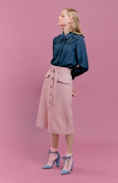 centre botton down banding skirt