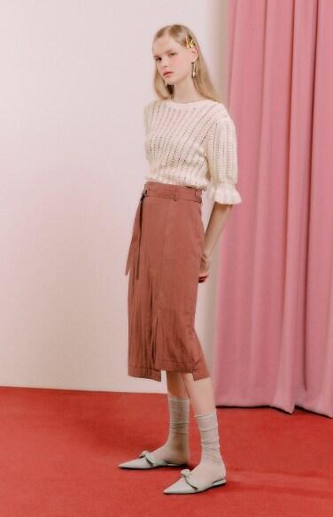 unbalance slit midi skirt(강다솜 착용)