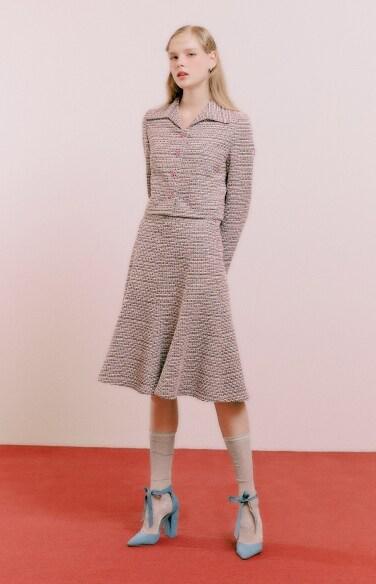 tweed flare midi skirt