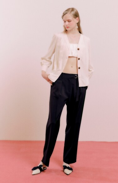 half strap straight pants
