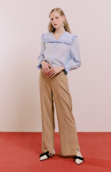 side slit semi wide pants