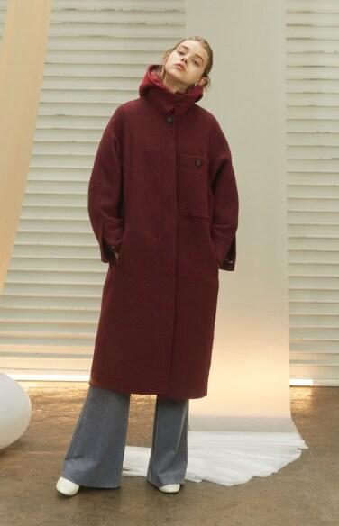 Llama wool big pocket long coat