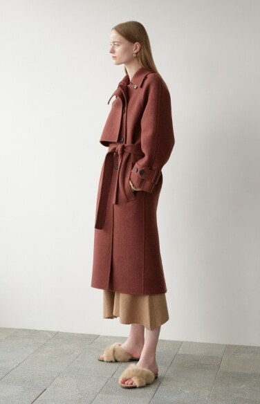double collar trench long coat
