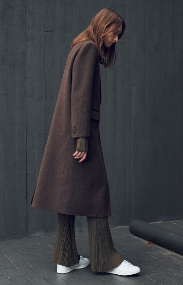 wool single button handmade coat