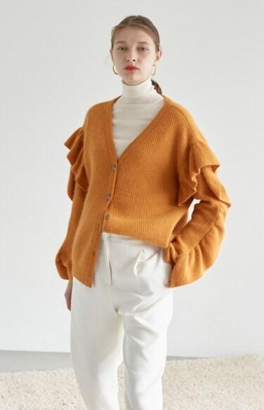 ruffle sleeve wool cardigan