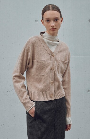 crop knit pocket cashmere cardigan