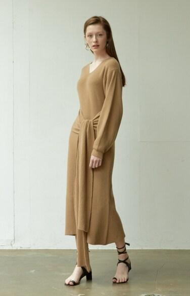 belted knit long dress
