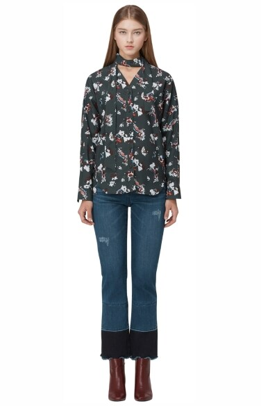 artistic flower printed blouse