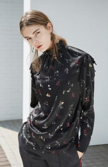 midnight flower turtleneck blouse