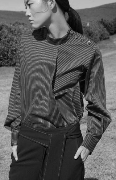 belt tie stripe blouse(윤소이 헤이즈 착용)