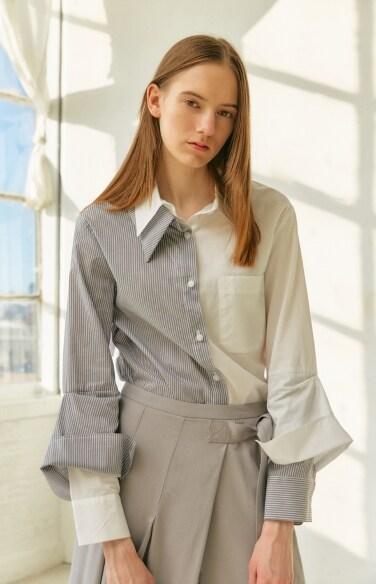 stripe patchwork shirt