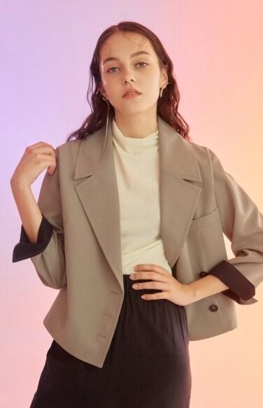 khaki cropped jacket