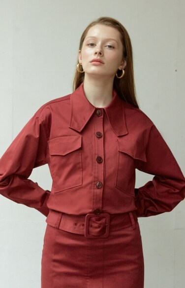 burgundy slim shirt