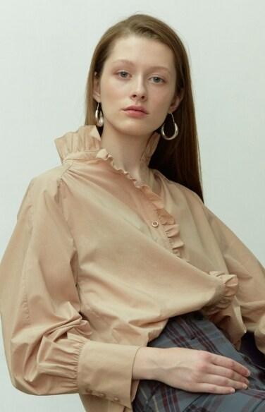 nudy pink ruffle blouse