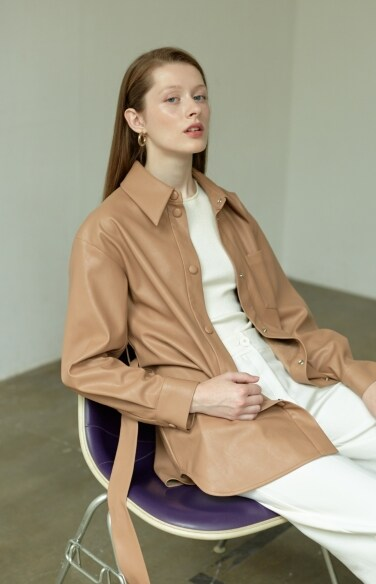 vegan leather belted shirt