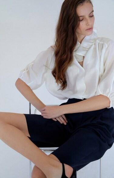 ruffle shirred neck blouse