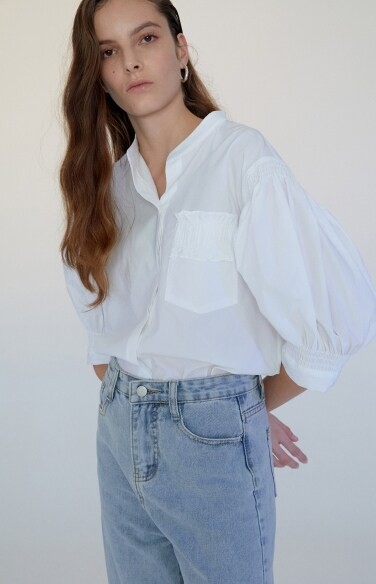 band collar puff sleeve shirt