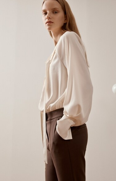 ivory long tie blouse