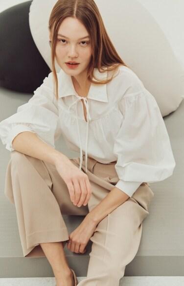 puff sleeve tie blouse