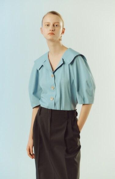sailor collar linen shirt blouse