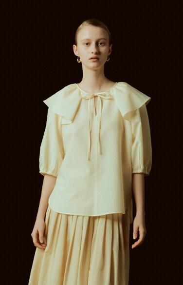 ruffle cape tie blouse