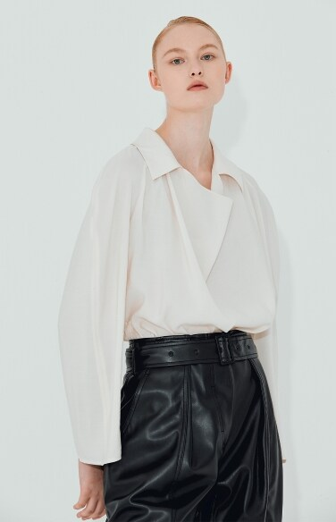 cowl neck belted blouse