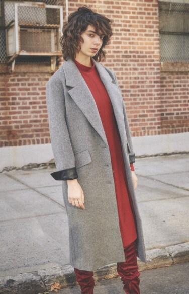grey wool flap pocket coat