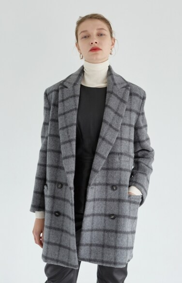 grey check half coat (Alpaca blend)