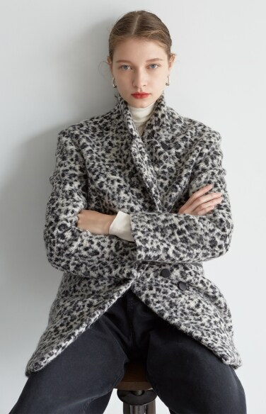 leopard half coat (Fabric from Italy)