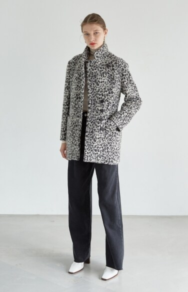 leopard half coat (Fabric from Italy)(한보름 착용)