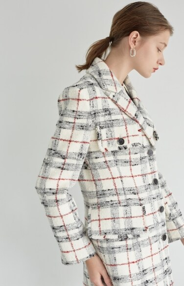 black and white tweed coat (Fabric from Italy)