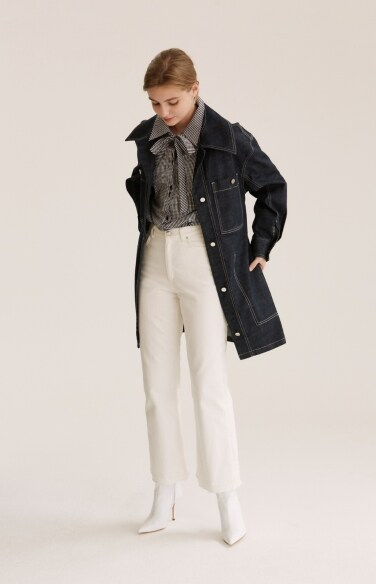 indigo long denim jacket
