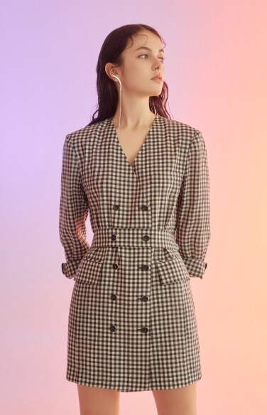 gingham check long jacket (dress convertible)