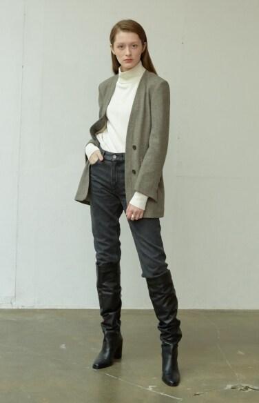 double lapel herringbone jacket