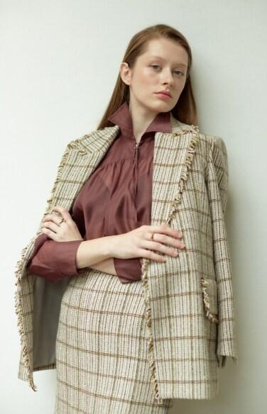 green tweed jacket (Fabric from Italy)