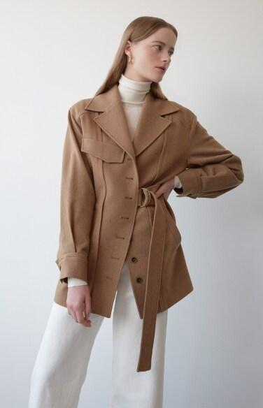 camel belted wool jacket
