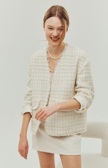 flap pocket tweed jacket