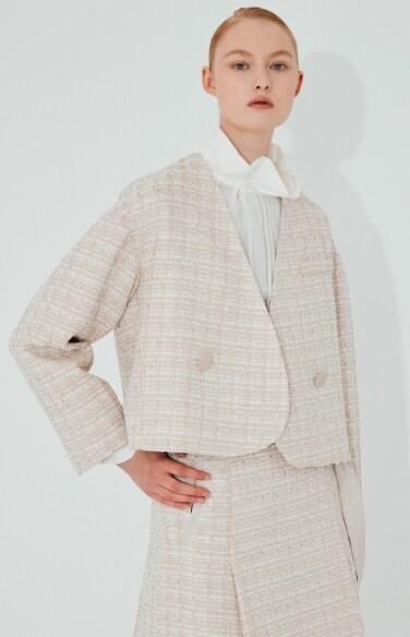 tweed no collar jacket