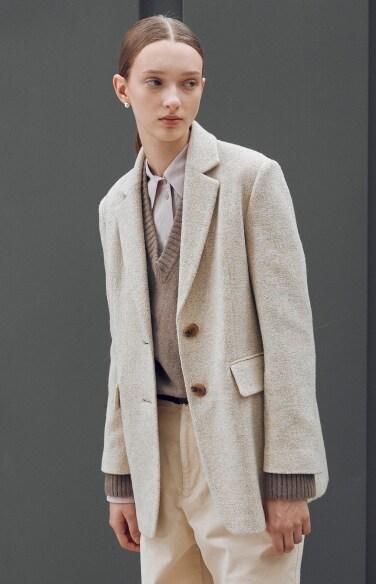 melange flap pocket wool jacket