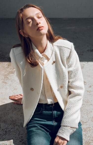 double button tweed wool jacket