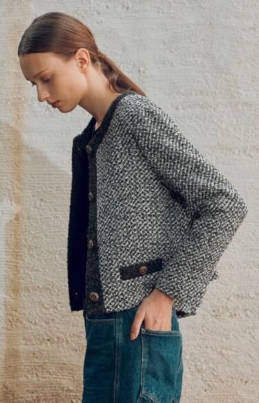 no collar simple crop jacket