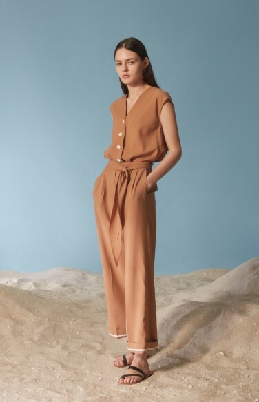 unbalanced button-down jumpsuit