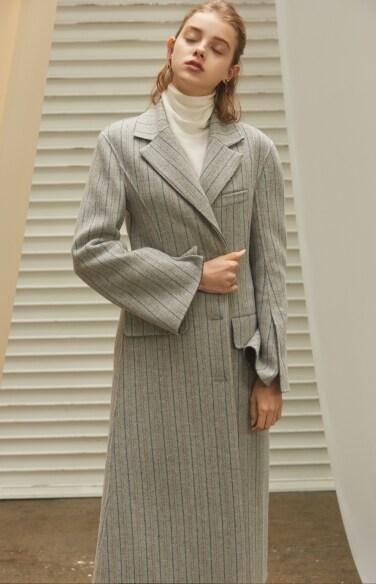 striped herringbone long coat