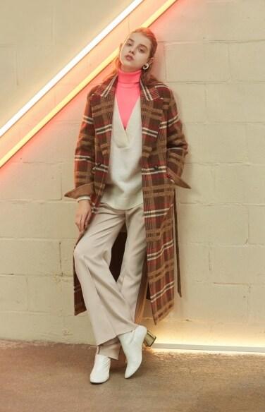 multi color check long coat