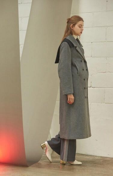 melange grey wool long coat