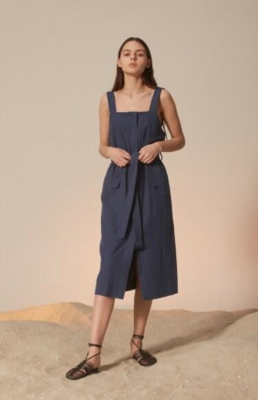 linen overall dress