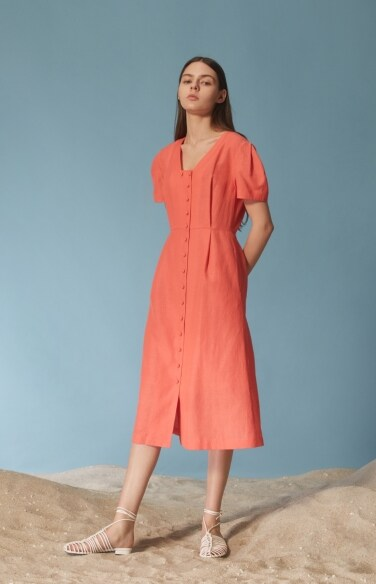 trapeze neckline linen dress