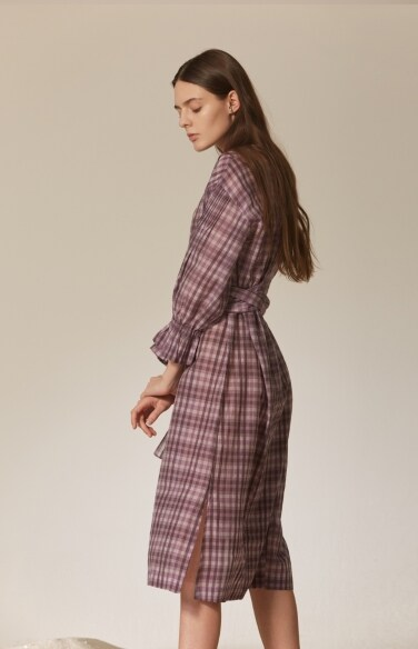 long strap check tunic dress (silk blended)