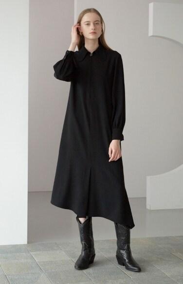 butterfly collar dress (black)