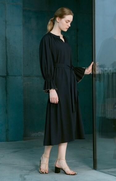 shirring neck long dress